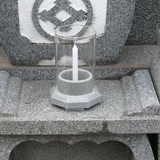 墓用仏具、石目調ロウソク立て天竜の通販・販売
