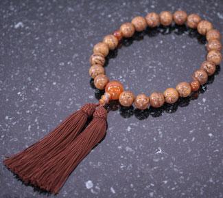 男性用数珠(京念珠)龍眼菩提樹・瑪瑙紅花仕立の通販・販売