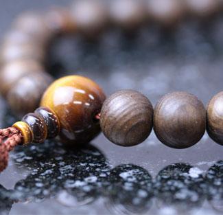 男性用数珠(京念珠)神代杉・虎目石仕立の通販・販売