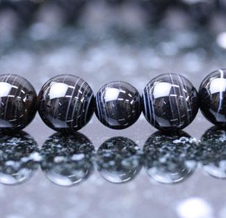 女性用数珠(京念珠)黒縞瑪瑙共仕立の通販・販売