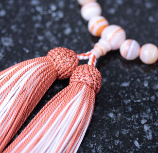 女性用数珠(京念珠)赤縞瑪瑙共仕立の通販・販売