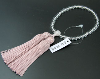 女性用数珠(京念珠)本水晶 ローズクオーツ仕立の通販・販売
