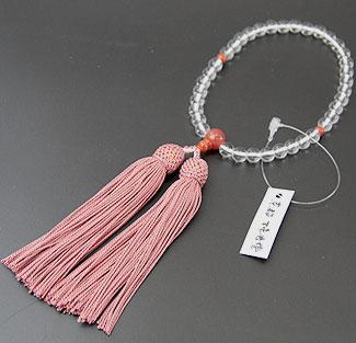 女性用数珠(京念珠)本水晶 縞瑪瑙仕立の通販・販売