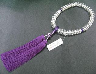 女性用数珠(京念珠)本水晶/紫水晶仕立 スターシェイブカットの通販・販売