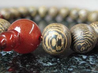男性用数珠(京念珠)銘木 鉄刀木/瑪瑙仕立ての通販・販売