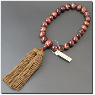 男性用数珠(京念珠)赤虎眼石/共仕立の通販・販売