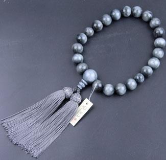 男性用数珠(京念珠)グレー虎眼石/共仕立の通販・販売