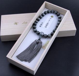 男性用数珠(京念珠)グレー虎目石/共仕立の通販・販売